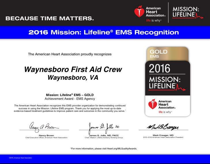 WFAC Receives 2016 Mission Lifeline Award